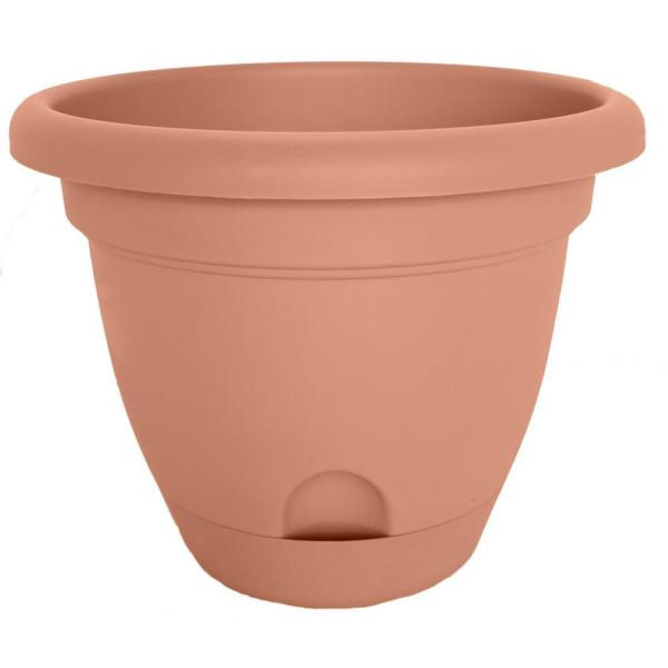 Lucca 13.25 in. Terra Cotta Plastic Self-Watering Planter with Saucer
