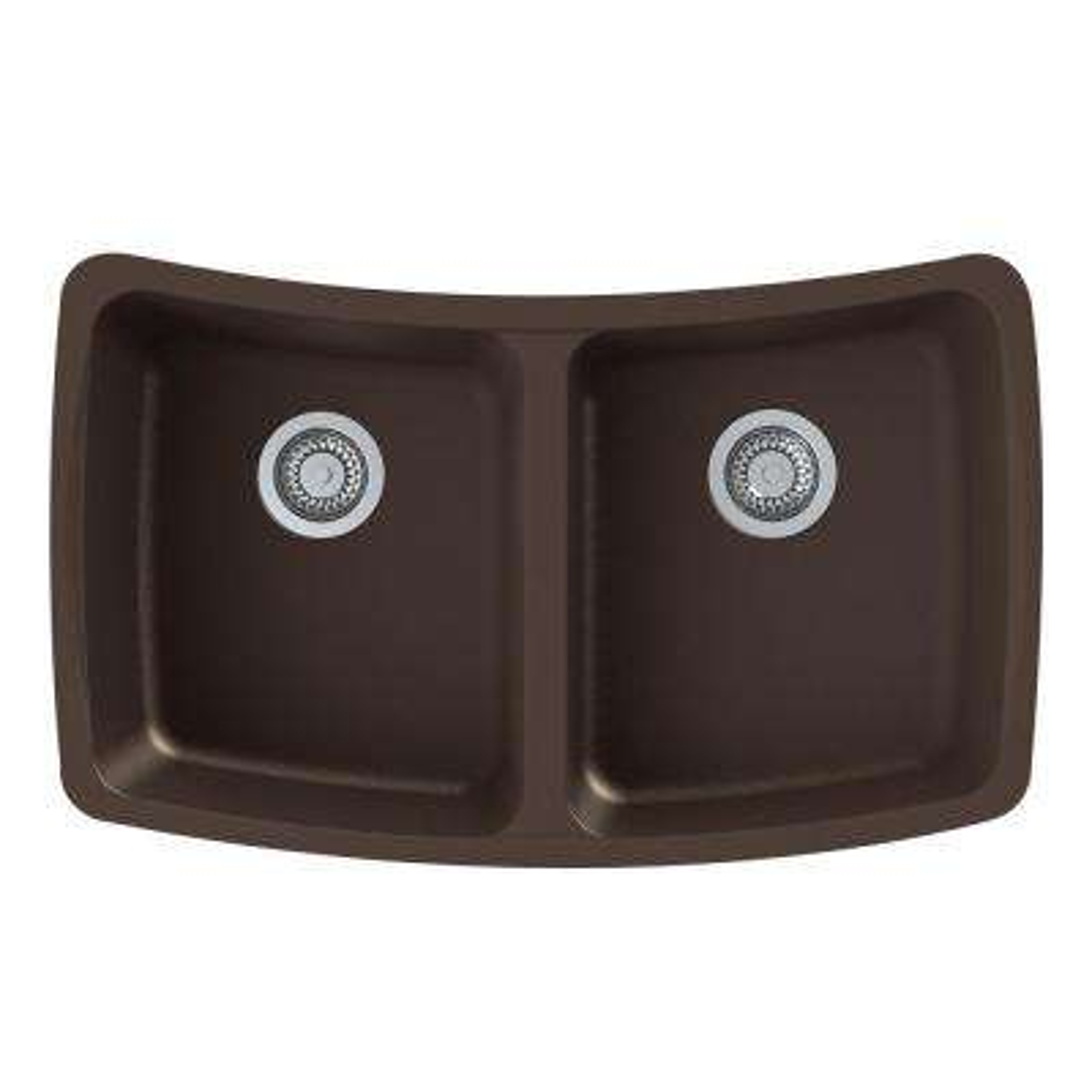 Genova Undermount Granite 33 in. Equal Double Bowl Kitchen Sink in Espresso