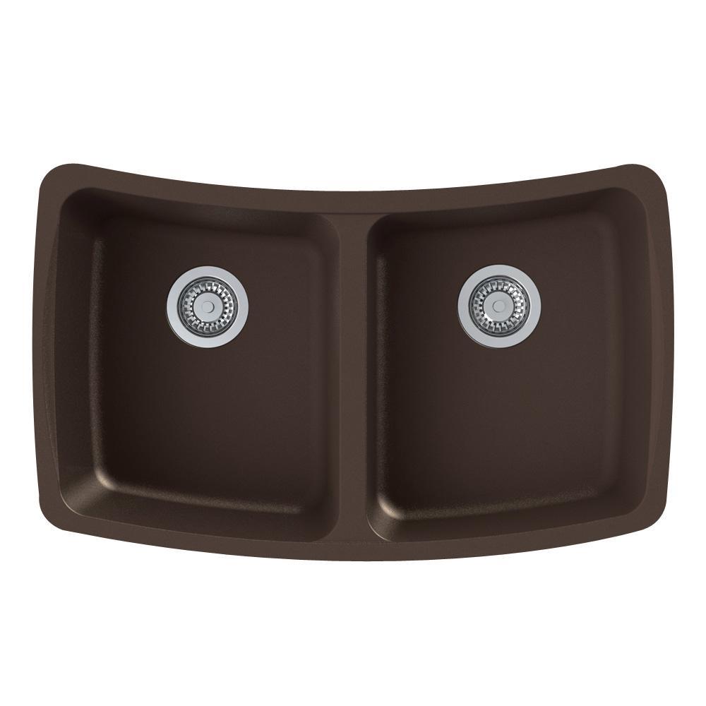 Transolid Genova Undermount Granite 33 In Equal Double Bowl Kitchen Sink In Espresso Gudc3118 12 The Home Depot