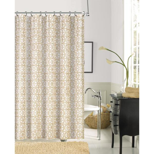 Dainty Home Jupiter 72 in. Gold Faux Linen Printed Shower Curtain
