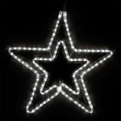 22 in. 124-Light LED Cool White 5 Point Hanging Double Star
