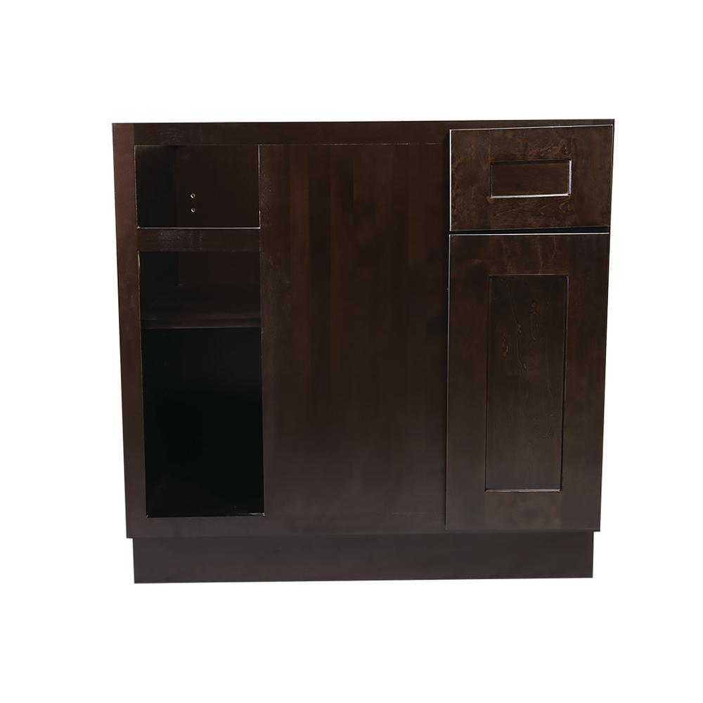 Design House Brookings Fully Assembled 36x34 5x24 In Kitchen Blind Base Cabinet In Espresso