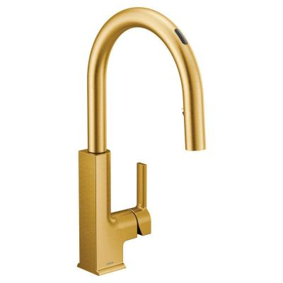 U by Moen STo Single-Handle Pull-Down Sprayer Smart Kitchen Faucet with Voice Control and Power Clean in Brushed Gold