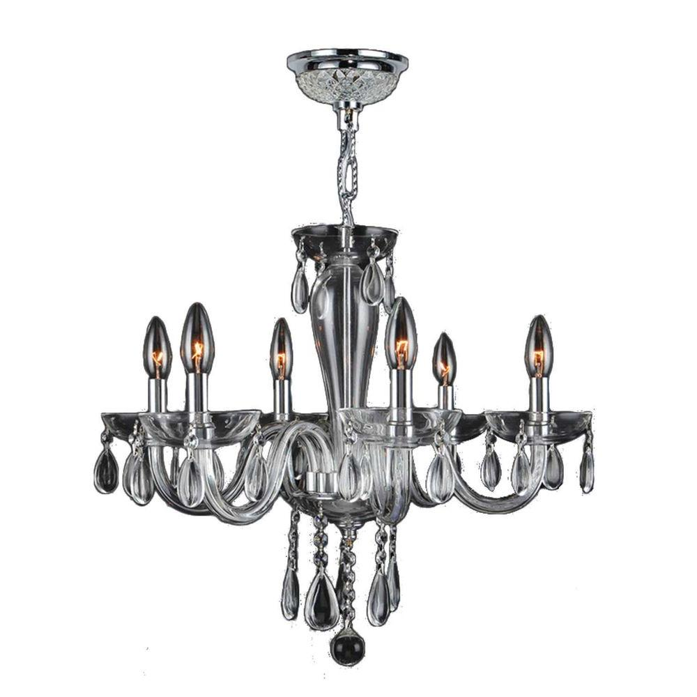 Gatsby 6 Light Polished Chrome Crystal Chandelier Crystal