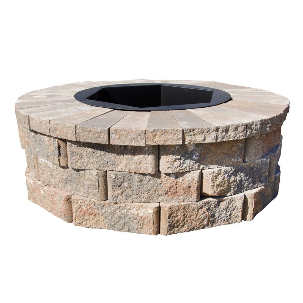 H Rockwall Round Fire Pit Kit - - Pavestone 40 In. W X 14 In. H Rockwall Round Fire Pit Kit - Palomino