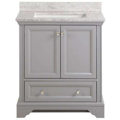 Stratfield 31 in. W x 22 in. D Bath Vanity in Sterling Gray with Stone Effect Vanity Top, Winter Mist with White Sink