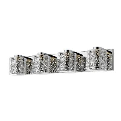 Aria Collection 28.75 in. 4-Light Chrome Vanity Light with Clear Glass Shades
