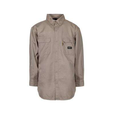 Men's Small Khaki Cotton and Nylon FR Button Down Work Shirt