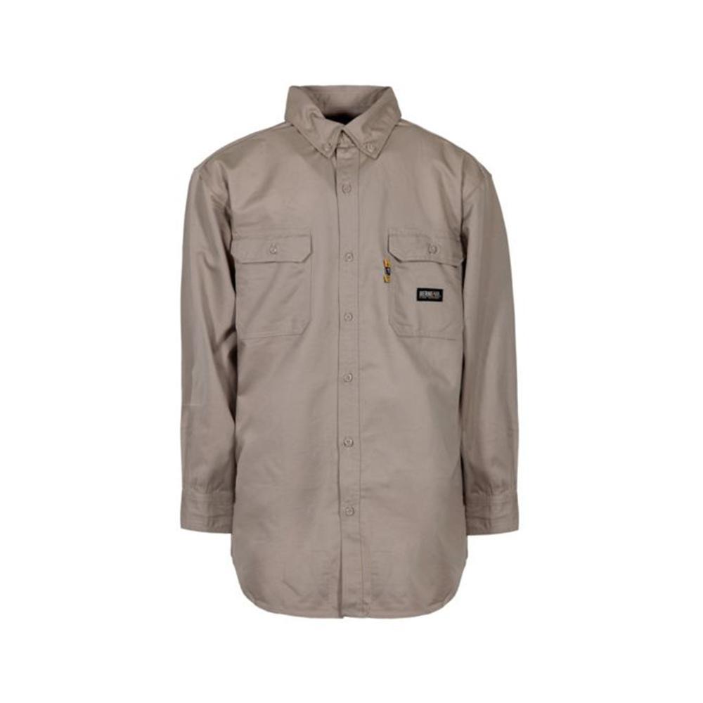 fa962ab02d6 Berne Men s 4 XL Khaki Cotton and Nylon FR Button Down Work Shirt ...