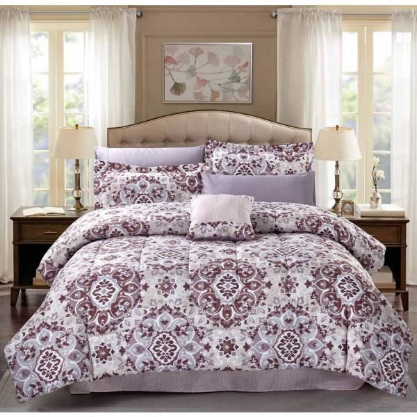 Brown Amp Grey Santiago 9 Piece Mauve Medallion King Bed In