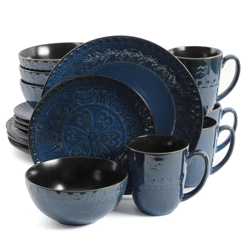 GIBSONelite GIBSON elite Milanto 16-Piece Blue Dinnerware Set