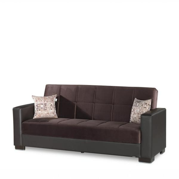 Armada 88 in. Chocolate Brown Microfiber 3-Seater Full Sleeper Convertible Sofa Bed with Storage