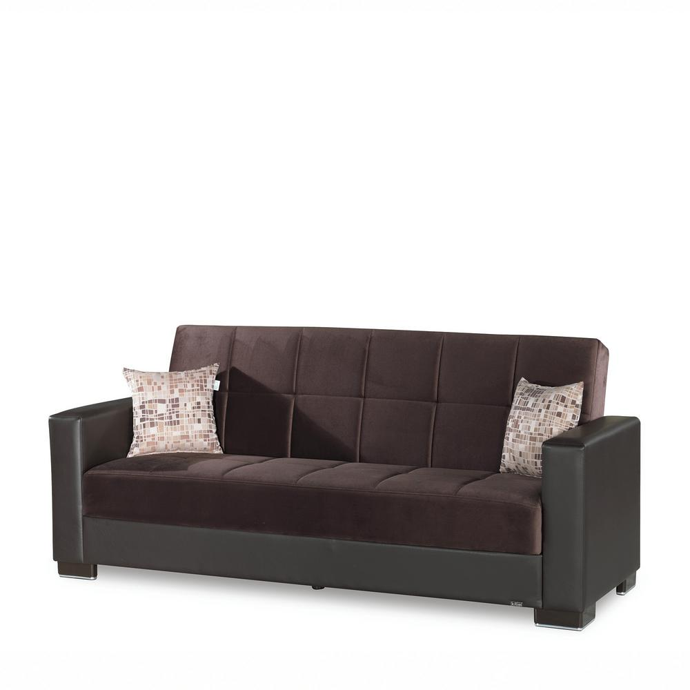 Armada Chocolate Brown Fabric Upholstery Sofa Sleeper Bed with Storage