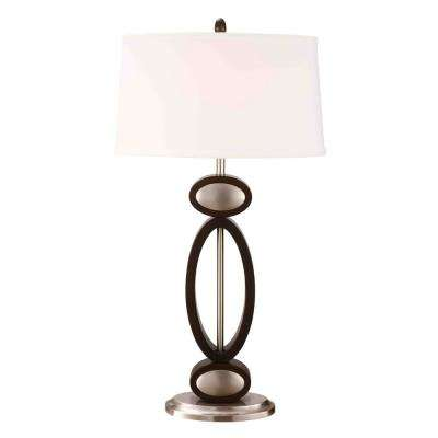 Infinity Contemporary 33.5 in. Dark Walnut, Espresso and Brushed Steel Modern Table Lamp