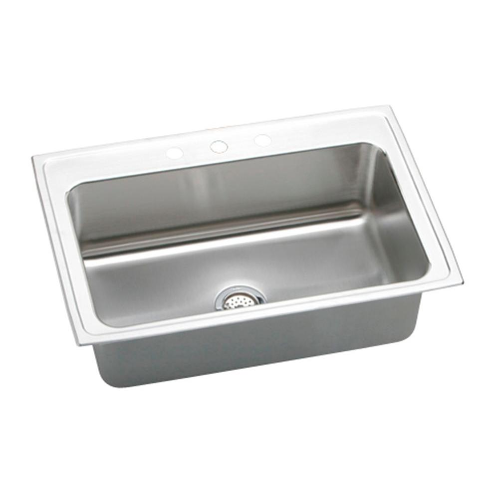 Elkay Lustertone Drop In Stainless Steel 33 In. 1 Hole Single Bowl Kitchen  Sink DLRS3322101   The Home Depot