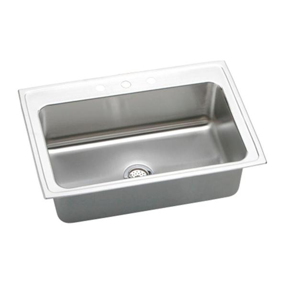 Lustertone Drop-In Stainless Steel 33 in. 1-Hole Single Bowl Kitchen Sink