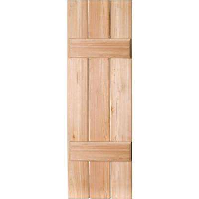 12 in. x 52 in. Exterior Real Wood Western Red Cedar Board & Batten Shutters Pair Unfinished