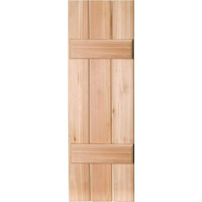12 in. x 52 in. Exterior Real Wood Sapele Mahogany Board and Batten Shutters Pair Unfinished
