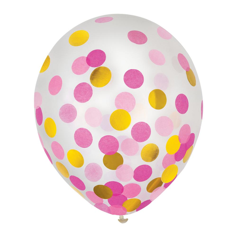 Amscan 12 in. Gold and Pink Confetti Balloons (4-Pack)