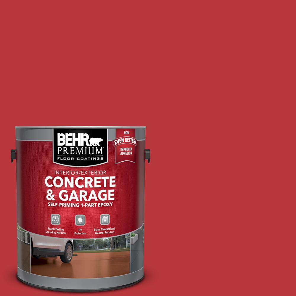 BEHR Premium 1 gal. #OSHA-5 OSHA SAFETY RED Self-Priming 1-Part Epoxy Satin Interior/Exterior Concrete and Garage Floor Paint
