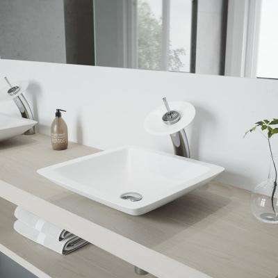 Begonia Vessel Sink in White Matte Stone with Waterfall Faucet in Chrome and Pop-Up Drain Included