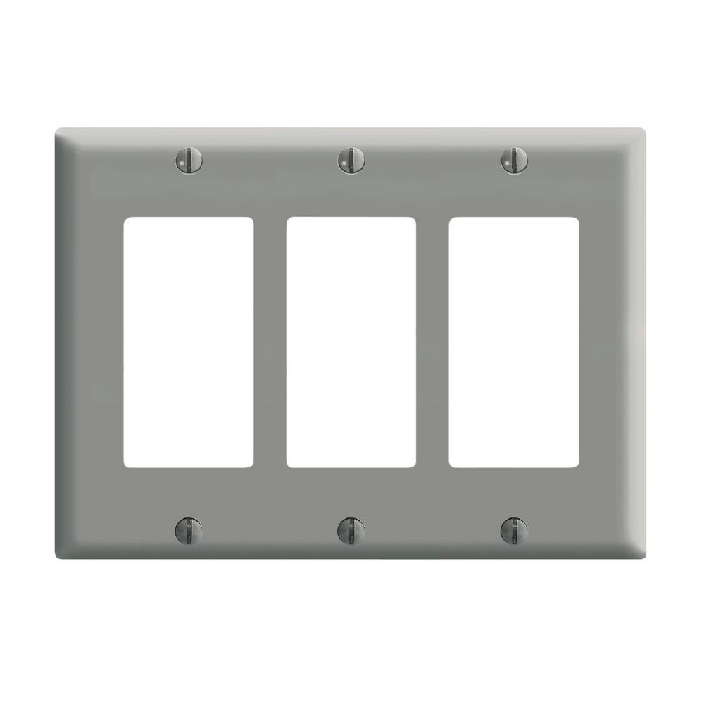 3-Gang Decora Wall Plate, Gray