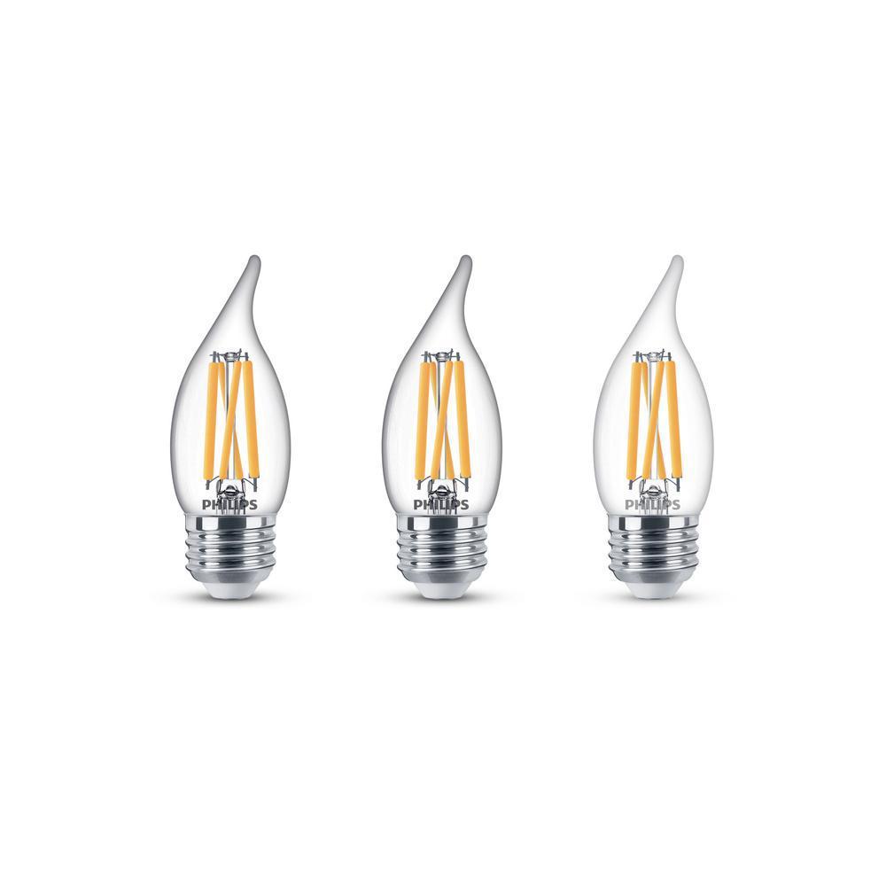 75-Watt Equivalent BA11 Dimmable Edison Glass LED Candle Light Bulb Bent Tip Medium Base Daylight (5000K) (3-Pack)