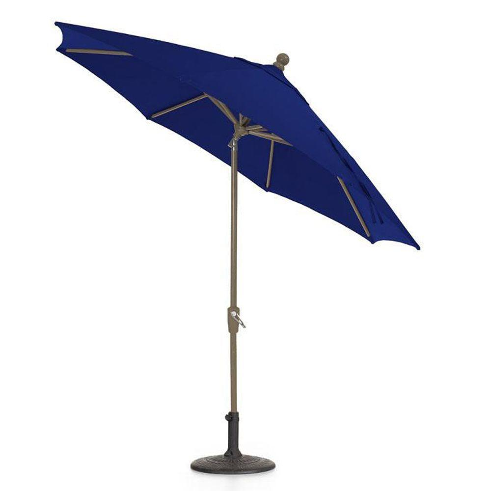 Home Decorators Collection Sunbrella 7-1/2 ft. Auto-Crank Tilt Patio Umbrella in Blue-DISCONTINUED