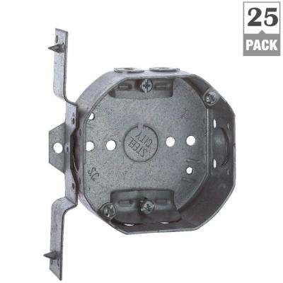 4 in. 1-1/2 in. Deep New Work Octagon Box - Non-Metallic V Bracket and Cable Clamps (Case of 25)