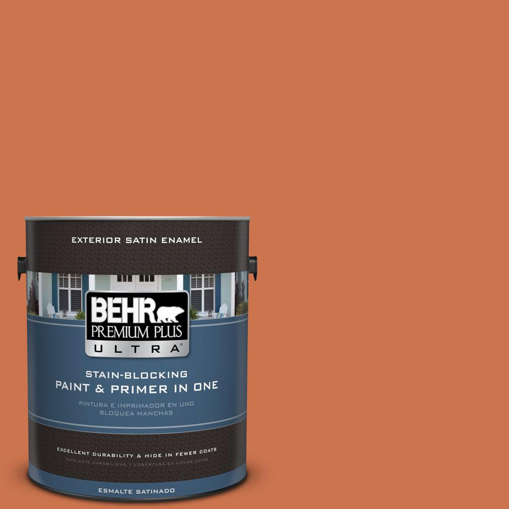 BEHR Premium Plus Ultra 1-gal. #PMD-103 Sweet Carrot Satin Enamel Exterior Paint