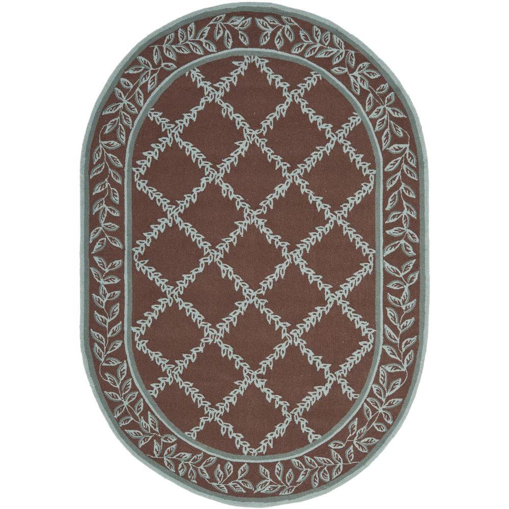 Safavieh Chelsea Brown/Blue 8 Ft. X 10 Ft. Oval Area Rug