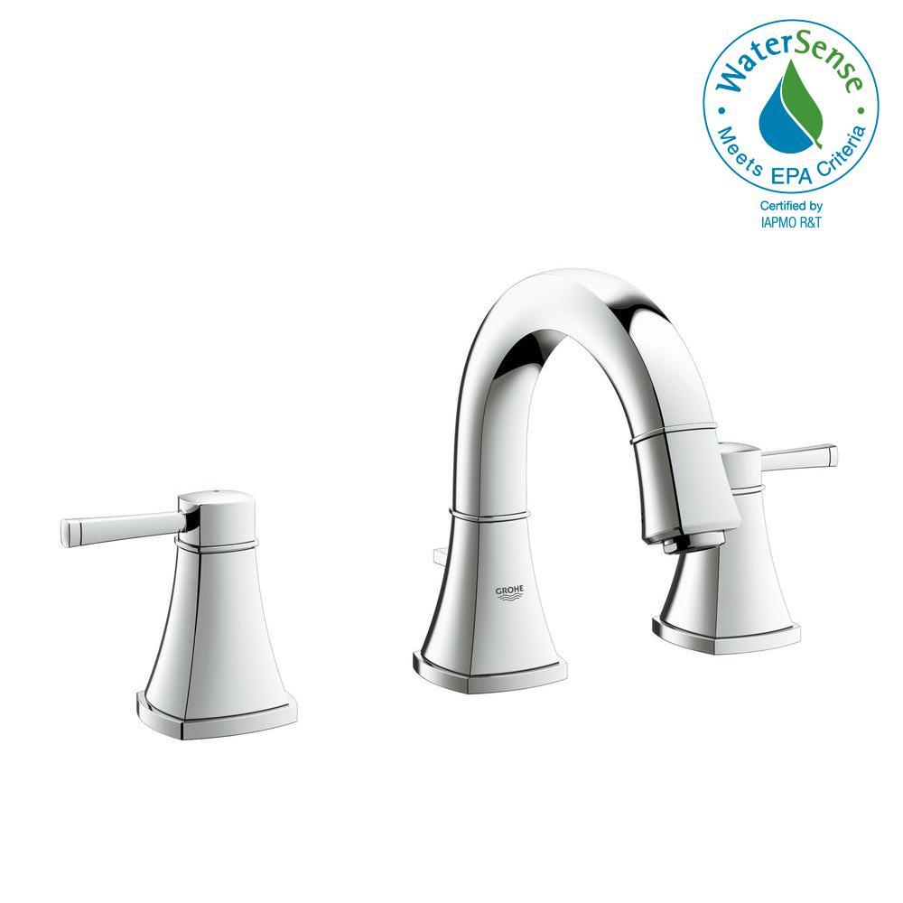 GROHE Grandera 8 in. Widespread 2-Handle 1.2 GPM Bathroom Faucet in ...