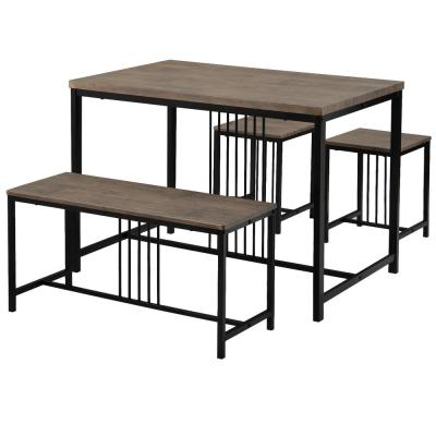Brown Wooden Dining Table Set with Two Side Chairs and One Bench