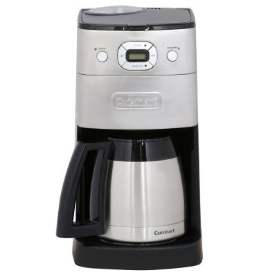 Grind and Brew 10-Cup Brushed Chrome Drip Coffee Maker with Thermal Carafe
