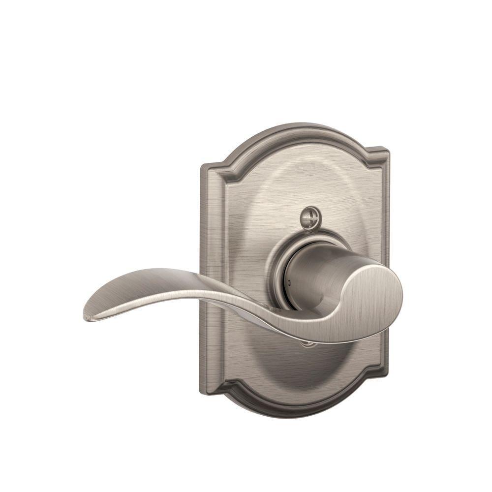 Accent Satin Nickel Left Handed Dummy Door Lever with Camelot Trim