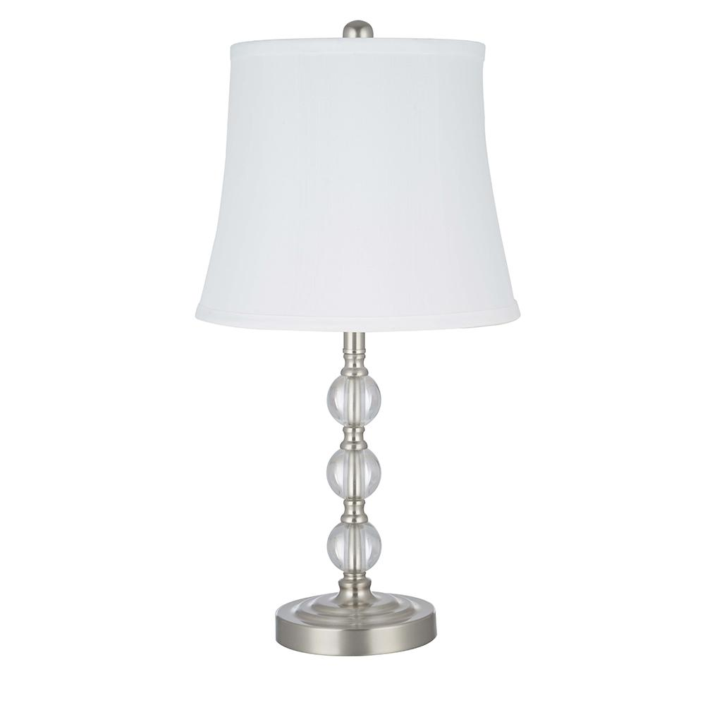 21 in. Clear Crystal Stacked Ball with Brushed Nickel Base Classic