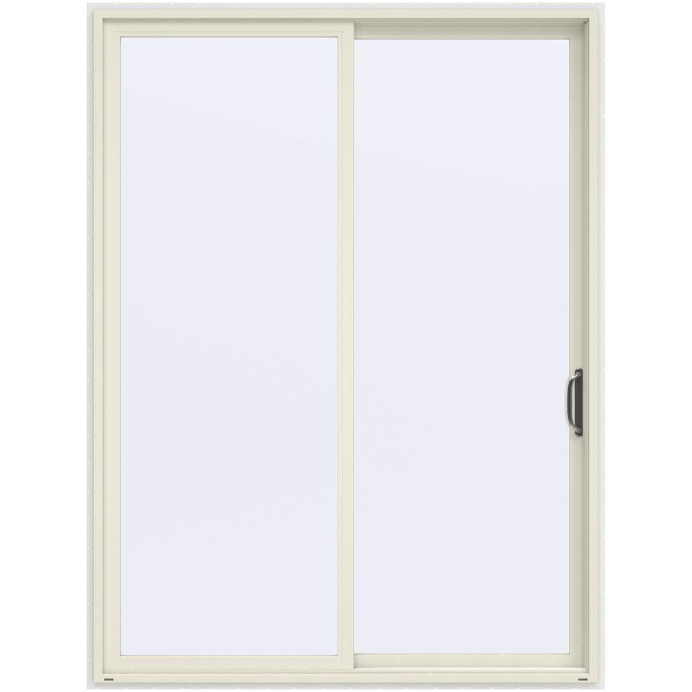 72 in. x 96 in. V-4500 Contemporary Vanilla Painted Vinyl Right-Hand Full Lite Sliding Patio Door w/White Interior