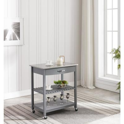 Holland Gray Kitchen Cart with Stainless Steel Top