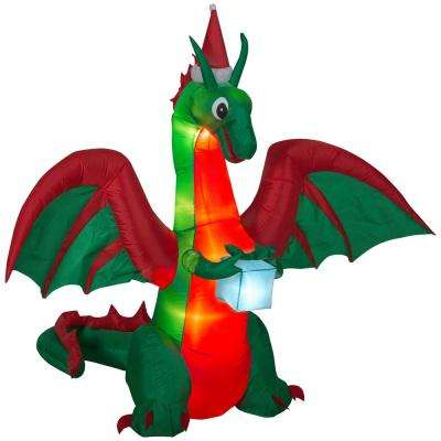 w pre lit inflatable kaleidoscope dragon with flaming mouth and present