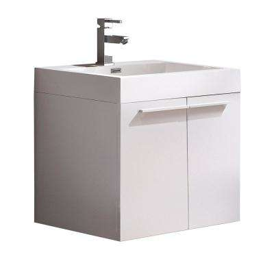Alto 23 in. Bath Vanity in White with Acrylic Vanity Top in White with White Basin