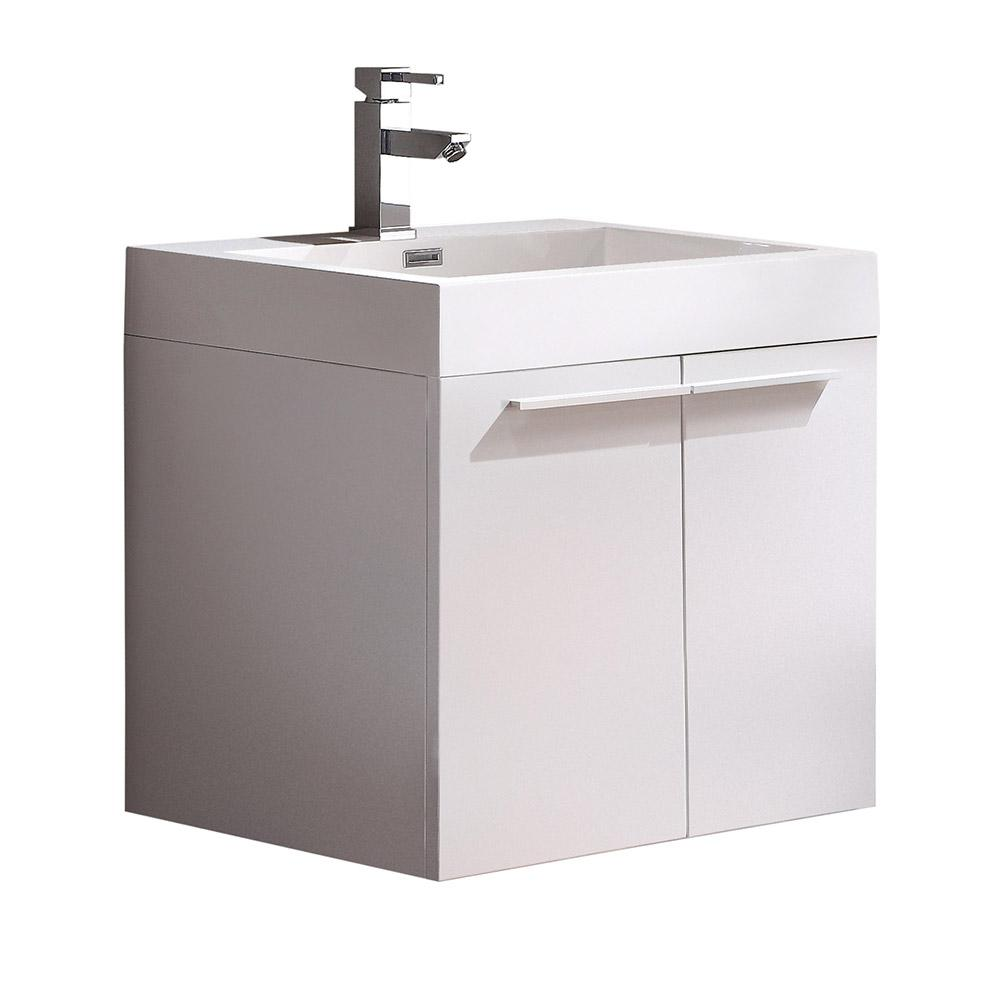 Fresca Alto 23 In. Bath Vanity In White With Acrylic Vanity Top In White  With