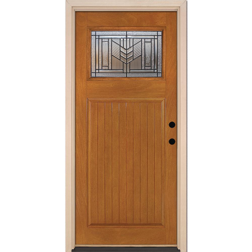 37.5 in. x 81.625 in. Phoenix Patina Craftsman 1/4 Lite Stained