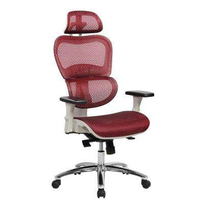 Red Deluxe High Back Mesh Office Executive Chair with Neck Support