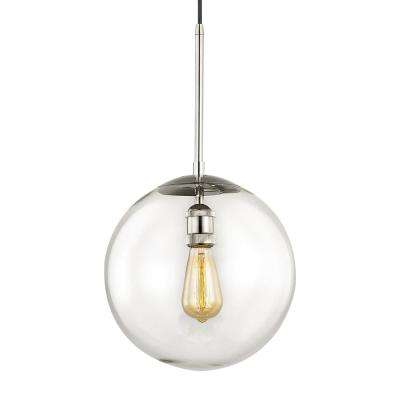 Asheville 1-Light Polished Nickel Globe Pendant with Glass Shade