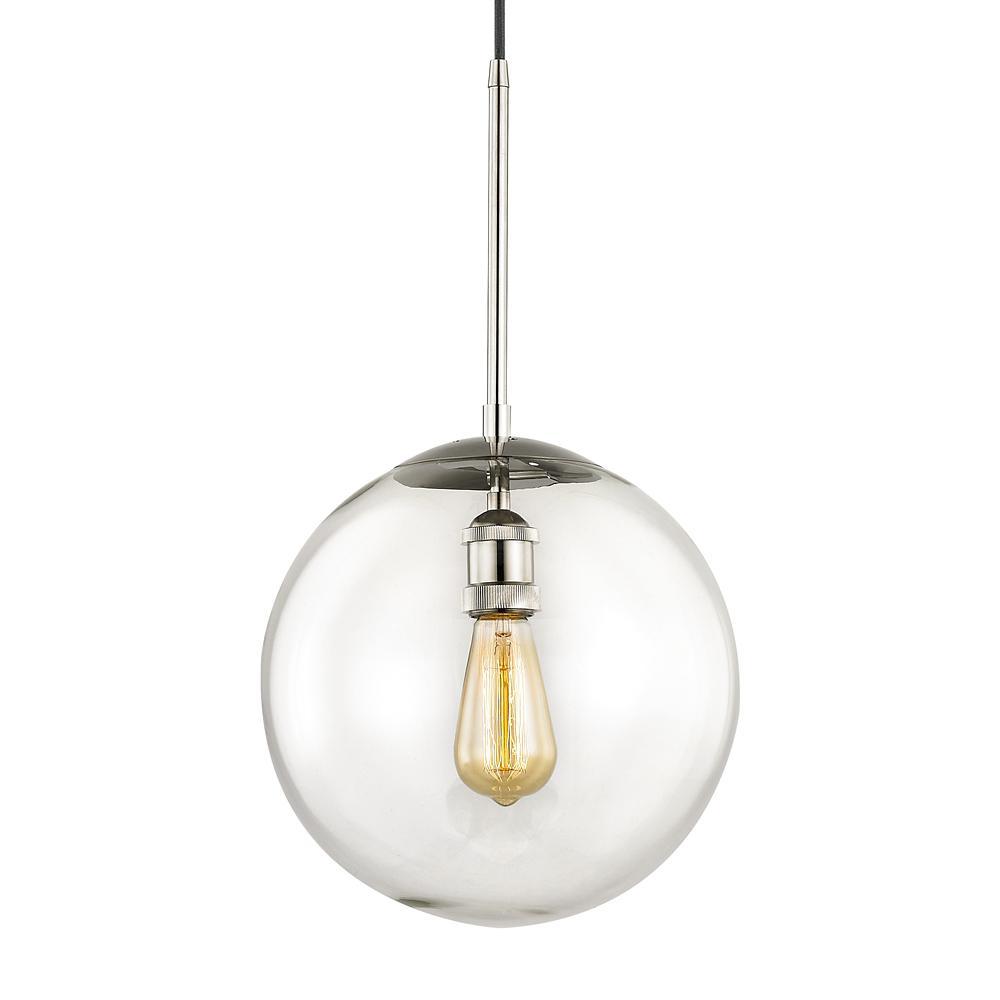 Asheville 1-Light Polished Nickel Globe Pendant with Glass Shade