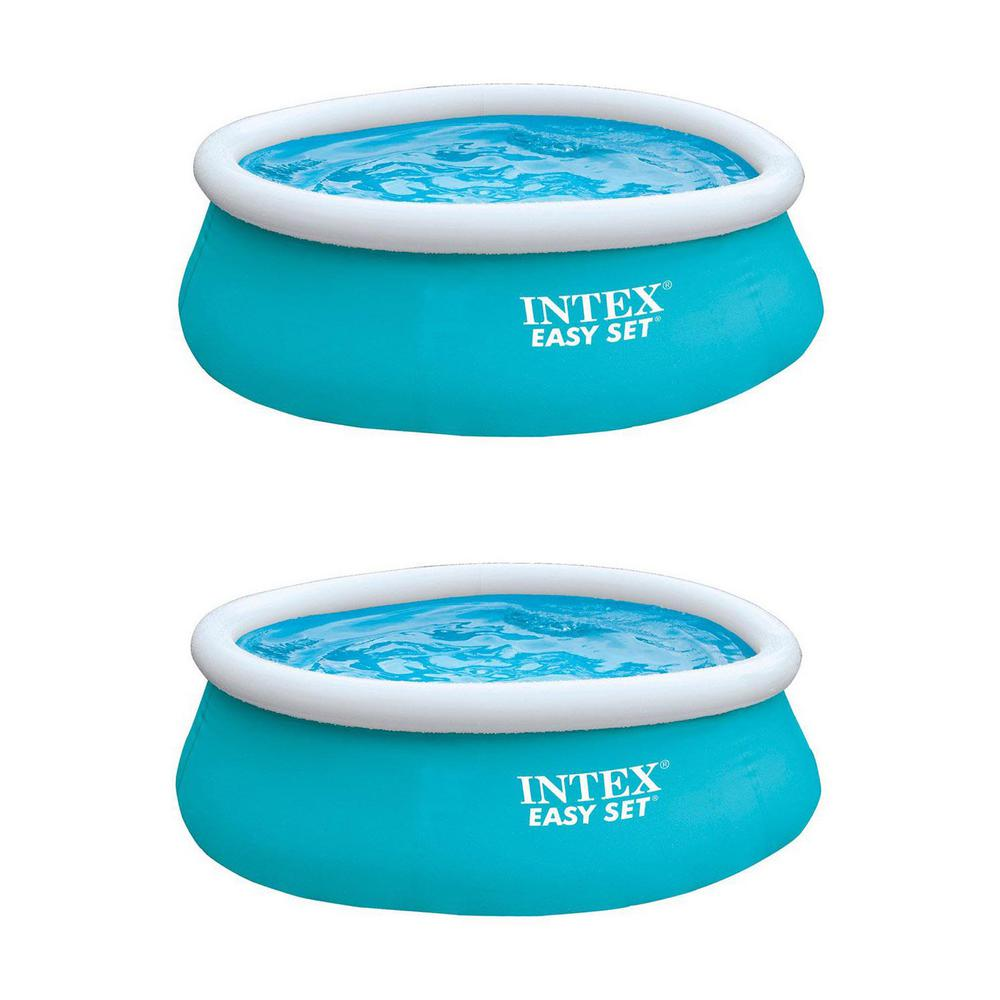6 ft. x 20 in. Round Easy Set Inflatable Above Ground Swimming Pool in Aqua  Blue (2-Pack)