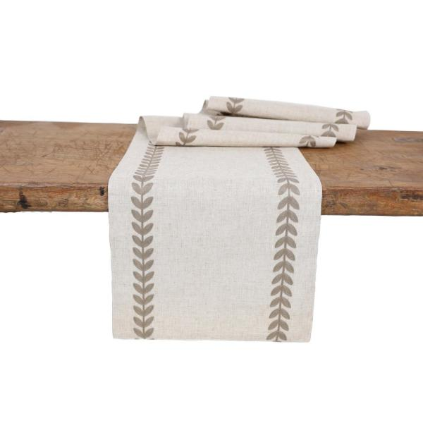 15 in. x 108 in. Cute Leaves Crewel Embroidered Table Runner, Taupe/Natural