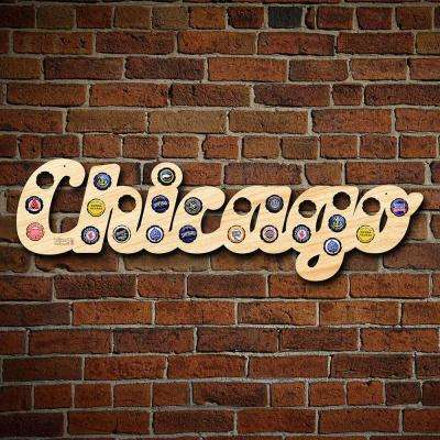 """8 in. x 26 in. Large """"Chicago"""" City Name Beer Cap Map"""