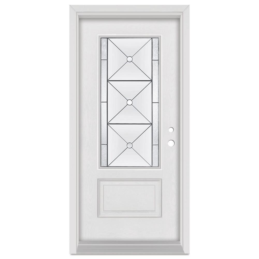 Stanley Doors 32 in. x 80 in. Bellochio Left-Hand Patina Finished Fiberglass Mahogany Woodgrain Prehung Front Door Brickmould