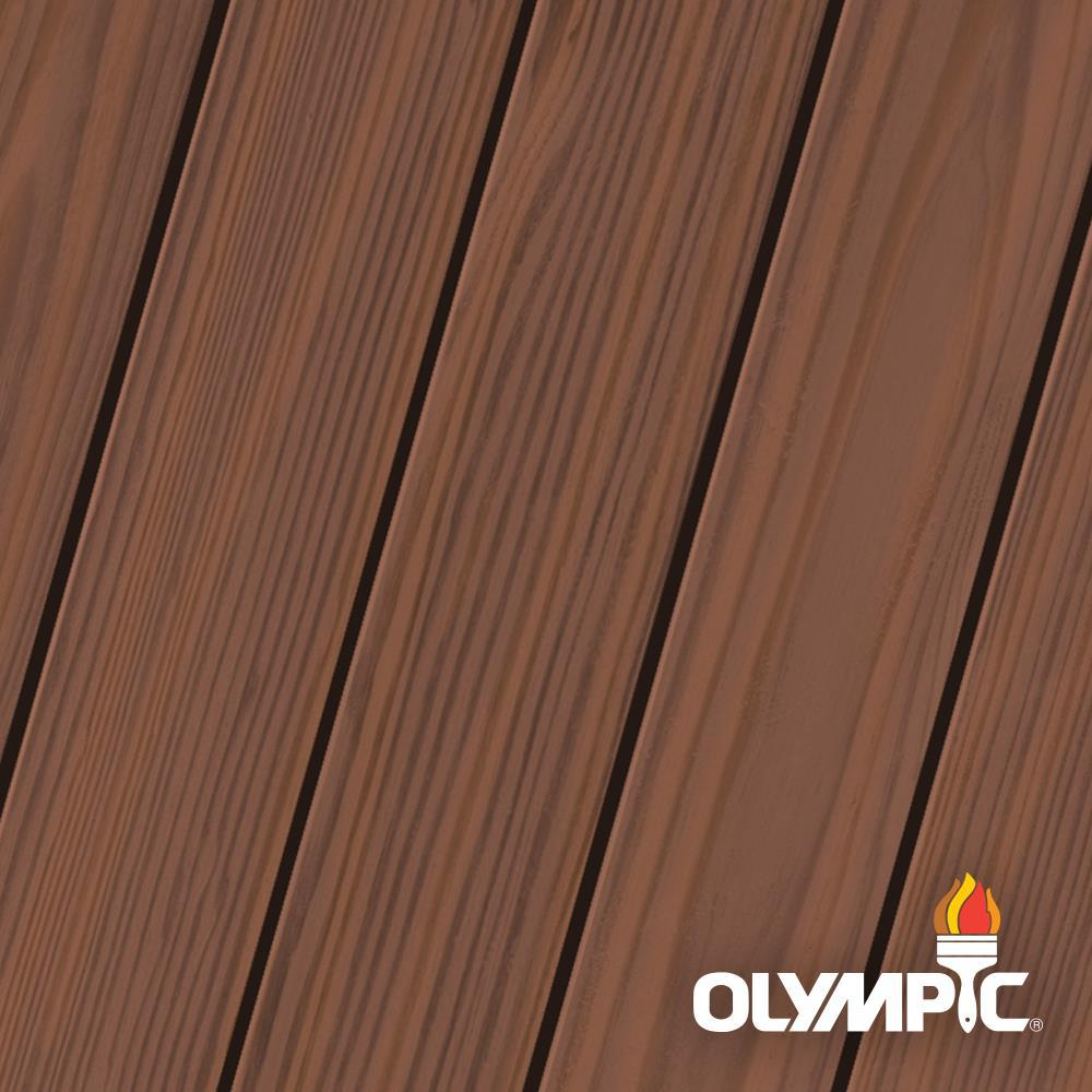 Olympic Maximum 5 gal. Dark Mahogany Semi-Transparent Exterior Stain and Sealant in One Low VOC